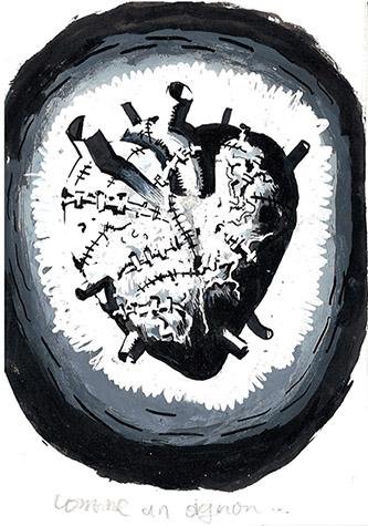 Winshluss, Comme un oignon… 2001. Technique mixte sur papier, 14,5 x 10 cm. © D.R Courtesy Galerie GP &N Vallois, Paris.