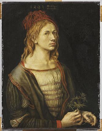 Albrecht Dürer, Portrait de l'artiste tenant un chardon, 1493. Parchemin collé sur toile, 72 x 59 cm. Paris, musée du Louvre, département des Peintures, RF 2382. © RMN-Grand Palais (musée du Louvre) / Thierry Ollivier.