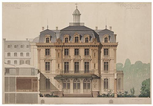 Denis-Louis Destors, Dessin aquarellé de la façade sur rue, 1876. © MAD Paris, musée Nissim de Camondo. Don des Amis du MAD, 2012.