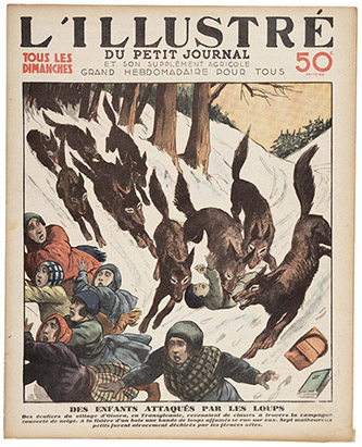 Des enfants attaqués par les loups, couverture de l'Illustré du Petit Journal, daté du 24 décembre 1933. Coll. part. © Musée de l'Image - Ville d'Épinal – cliché Essy Erfani.