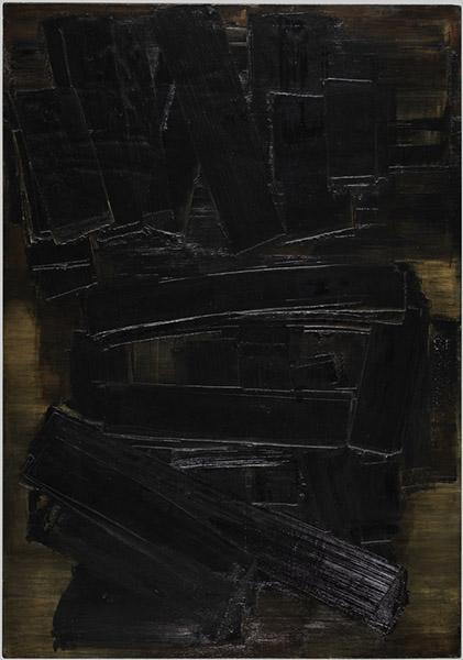 Pierre Soulages, Peinture 162 x 130 cm, 29 juin 1956, 1956. Huile sur toile, 162 x 130 cm. Legs Pierrette Bloch en 2018. © Adagp, Paris. © Centre Pompidou, MNAM-CCI/Philippe Migeat/Dist. RMN-GP.