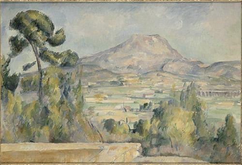 Paul Cezanne, La Montagne Sainte-Victoire, vers 1890. Huile sur toile, 65 x 95,2 cm. Paris, musée d'Orsay, donation de la petite-fille d'Auguste Pellerin, 1969. © RMN-Grand Palais (musée d'Orsay) / Hervé Lewandowski.