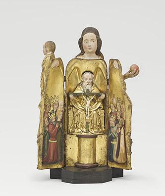 Vierge à l'Enfant ouvrante ; Trinité (intérieur), Prusse Orientale, Vers 1400. Bois polychromé ; bois peint à l'intérieur. Musée de Cluny, Cl. 12060. © RMN-Grand Palais (musée de Cluny - musée national du Moyen Âge) / Michel Urtado.
