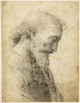 1/  Pietro Vannucci, dit Le Pérugin (atelier de) (Città della Pieve, vers 1445-Fontignano, 1523). Recto : Buste d'homme. Pierre noire sur contours en pointillé.
