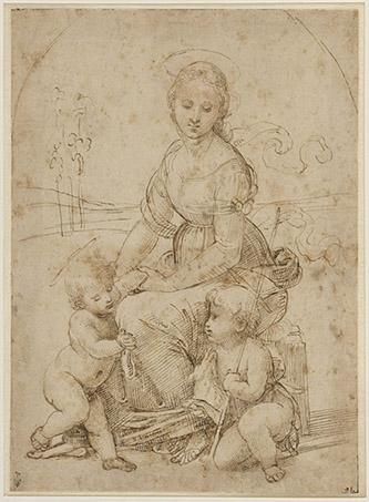 Raffaello Sanzio, dit Raphaël (Urbino, 1483-Rome, 1520), La Vierge assise avec l'Enfant et le petit saint Jean, dans un paysage. Plume et encre brune, traces de stylet.