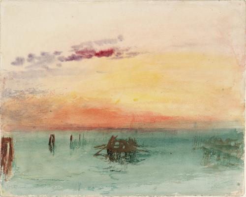 J. M. W. Turner (1775 – 1851), Venise : vue sur la lagune au coucher du soleil, 1840. Aquarelle sur papier, 24,4 x 30,4 cm. Tate, accepté par la nation dans le cadre du legs Turner 1856. Photo © Tate.
