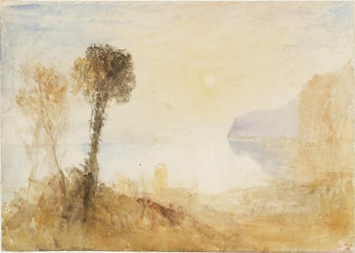 J. M. W. Turner (1775 – 1851), Un paysage italianisant idéalisé avec des arbres au-dessus d'un lac ou d'une baie, éclairé par un soleil rasant, vers 1828–1829. Aquarelle sur papier, 31,2 x 43,9 cm. Tate, accepté par la nation dans le cadre du legs Turner 1856. Photo © Tate.