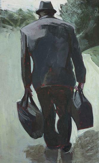 Myriam Boccara, Le monde en passant - Sortie de piste, 2018-2020. Peinture à l'acrylique sur papier et marouflés sur carton et montés sur châssis, 47,5 x 76 cm. Photo : Didier Pruvot.
