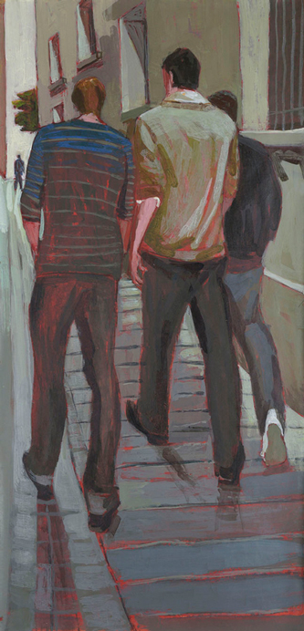 Myriam Boccara, Le monde en passant - Des quelqu'uns, 2018-2020. Peinture à l'acrylique sur papier et marouflés sur carton et montés sur châssis, 55,5 x 115 cm. Photo : Didier Pruvot.