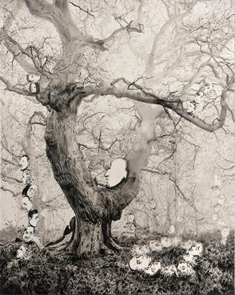 Chao Lu, Elsewhere no.9, 2017. Huile sur toile, 150 x 120 cm. Courtesy de l'artiste et Galerie Nathalie Obadia Paris / BruxellesCrédit Photo : Bertrand Huet / Tutti Image.