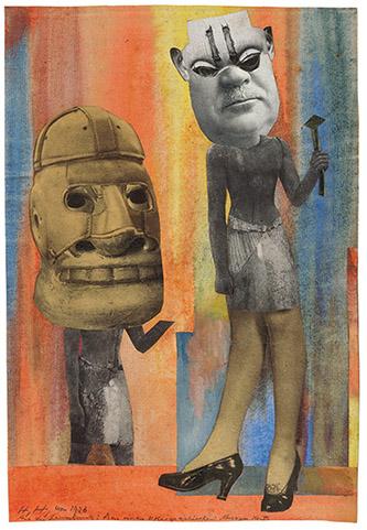Hannah Höch, Aus der Sammlung: Aus einem Ethnographischen Museum Nr. IX., 1926-1929. Collage et aquarelle sur papier marouflé 27,6 x 19 cm. Courtesy Galerie Natalie Seroussi.