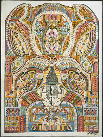 Augustin Lesage, Tête de la déesse Nut / XVIII / Karnak, vers 1942. Huile sur toile marouflée, 77,5 × 57,5 cm. Collection particulière. Photo : © Claude Thériez © Adagp, Paris, 2020.