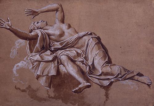 Noël Coypel, Femme projetée en arrière (La Fraude), XVIIe siècle. Pierre noire, lavis brun rehauts, 39,2x43,1 cm, Collection Prat.