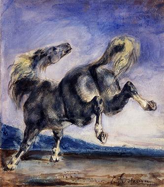 Eugène Delacroix, Cheval ruant, XIXe siècle. Aquarelle, gouache, 15,1 x 13 cm, Collection Prat.