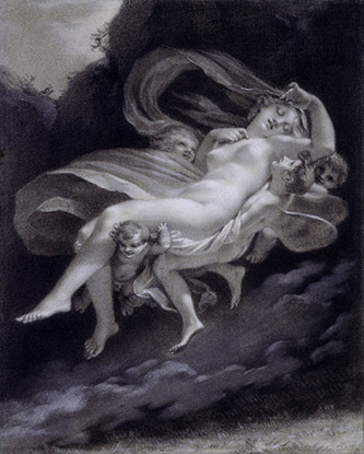 Prud'hon, Psyché enlevée par les Zéphyrs, XIXe siècle. Pierre noire, réhauts de blanc sur papier bleu, 33 x 17 cm, Collection Prat.