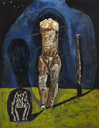 Damien Deroubaix, Augustine, 2019, huile et collage sur toile, 200 x 150 cm, © Thomas Lannes - Adagp, Paris, 2020, courtesy de l'artiste et galerie In Situ - fabienne leclerc, Grand Paris.