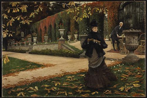 James Tissot (1836 - 1902), La réponse (La lettre), 1874. Huile sur toile, 71.4 x 107.1 cm. Musée des beaux-arts du Canada, Ottawa. Photo © MBAC.