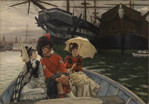 James Tissot (1836 - 1902), Portsmouth Dockyard, c.1877. Royaume-Uni, Londres, Tate Collection. © Tate, Londres, Dist. RMN-Grand Palais / Tate Photography.