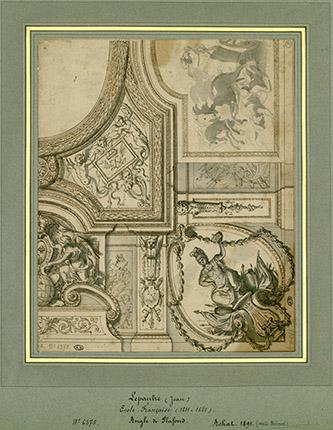 Charles Le Brun, Projet pour le plafond du Grand Cabinet du roi aux Tuileries, vers 1665-1671. Achat, 1891. © MAD, Paris.