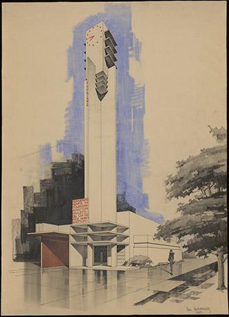Robert Mallet-Stevens, Pavillon des renseignements et du tourisme à l'exposition internationale des Arts Décoratifs et industriels modernes, Paris, 1925. © MAD, Paris.