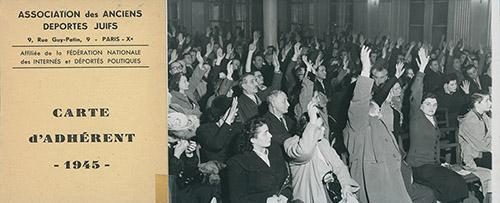 Membres de l'association des anciens déportés juifs procédant à un vote. Paris Xe, France, années 1950. Mémorial de la Shoah – Centre de documentation.
