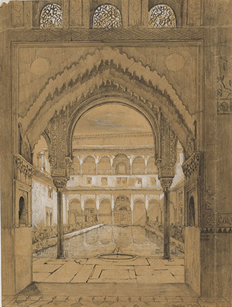 Joseph Philibert Girault de Prangey. Cour de l'Alberca. Alhambra. Vers 1832-1833. Crayon et gouache blanche sur papier.Paris, coll. part. photo Caroline Lenoir.