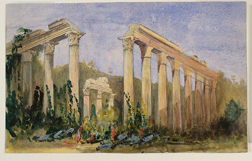 Joseph Philibert Girault de Prangey, Temple de Zeus, Euromus. Vers 1843. Crayon et aquarelle sur papier. Langres, MAH, photo Sylvain Riandet.