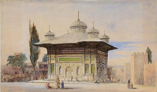 Joseph Philibert Girault de Prangey, Fontaine Sainte-Sophie, Constantinople. Vers 1843. Crayon et aquarelle sur papier. Langres, MAH, photo Sylvain Riandet.