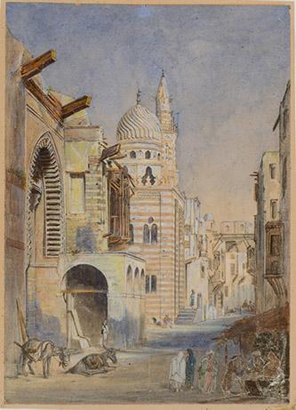 Joseph Philibert Girault de Prangey, Mosquée près Bâb-El-Ouîzir au Caire. Vers 1844 ?. Aquarelle sur papier. Langres, MAH., photo Sylvain Riandet.