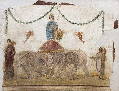 Vénus sur son char tiré par des éléphants, Ier siècle après J.-C. Fresque, 151 x 196 cm. Pompei, Officina dei Feltrai (IX 7, 5). Pompéi, Parc archéologique de Pompéi. © Parco Archeologico di Pompei, Amedeo Benestante.