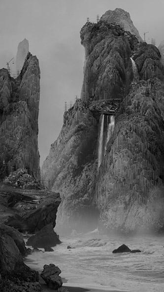 Zhang Kechun, Between the Mountains and Water. Sur le rocher au milieu de la rivière, 2014. Série Between the Mountains and Water [Entre montagnes et eau] (2014). Impression sur Dibond, 140 x 120 cm. Avec l'autorisation de l'artiste.