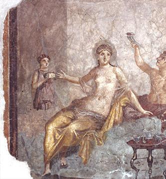 Dernier repas à Pompéi au Musée de l'Homme. Fresque scène de banquet con etera. © Musée archéologique national de Naples.