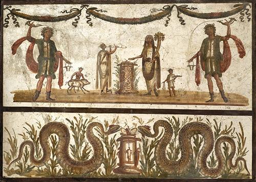 Dernier repas à Pompéi au Musée de l'Homme. Fresque Dieux Lares et serpents. © Musée archéologique national de Naples.
