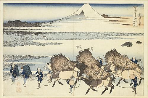 KATSUSHIKA Hokusai (1760-1849), Rizières d'Ono dans la province de Suruga, Série des Trente-six vues du mont Fuji, Ère d'Edo, 1830-1832. Estampe nishiki-e MNAAG, legs Drouhet, 1910, EO991. © RMN-Grand Palais (MNAAG, Paris) / Richard Lambert.