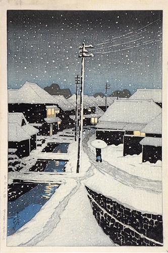 KAWASE Hasui (1883-1957), Soir de neige à Terajima, Ère Taisho, 1920. Estampe nishiki-e. MNAAG, achat 2020. © MNAAG, Paris.