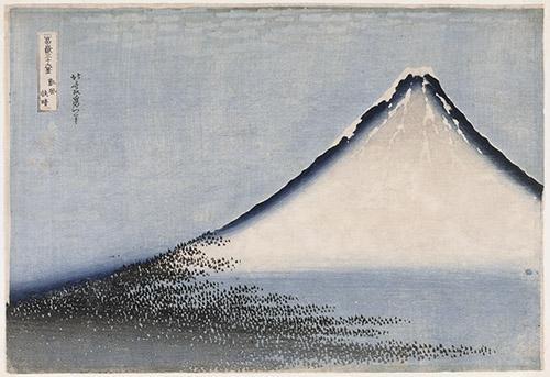 KATSUSHIKA Hokusai (1760-1849), Vent frais par matin clair, dit « Fuji bleu », Série des Trente-six vues du mont Fuji, Ère d'Edo, 1831. Impression originelle, en bleu, de la vue dite « Fuji rouge ». Xylogravure monochrome en bleu (aizuri-e) MNAAG, achat 2003, MA8149. © RMN-Grand Palais (MNAAG, Paris) / Thierry Ollivier.