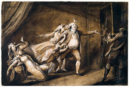 Jean-Marie Delaperche (Orléans, 1771 - Paris, 1843), Les Adieux de Louis XVI à sa famille, vers 1815. Crayon graphite, plume, encre et lavis d'encre au carbone, lavis d'encre métallogallique, lavis et rehauts de gouaches blanche et beige ainsi que de gomme arabique sur papier vélin lavé à l'encre métallogallique. © Orléans, musée des Beaux-Arts / photo Patrice Delatouche.