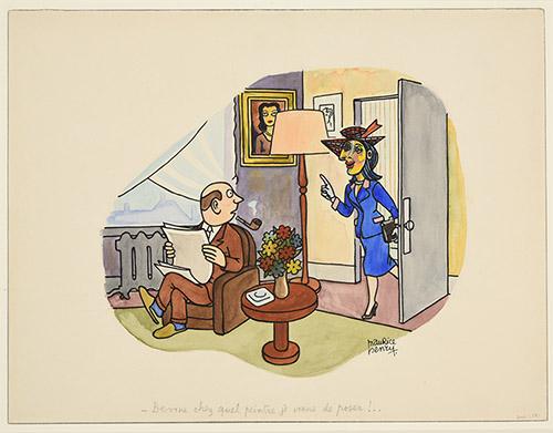 Maurice Henry, «Devine chez quel peintre je viens de poser» (Dessin au recto par Maurice Henry et au verso par Pablo Picasso), Sans date, Musée de Reims.