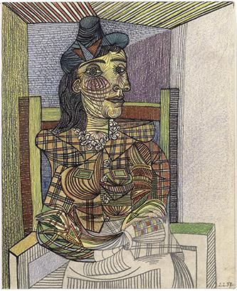 Pablo Picasso, Dora Maar assise, 2 février 1938. Carton, encre de Chine, mine de plomb, pastel, Paris (origine). Musée national Picasso-Paris. Photo © RMN-Grand Palais. © Succession Picasso 2020.