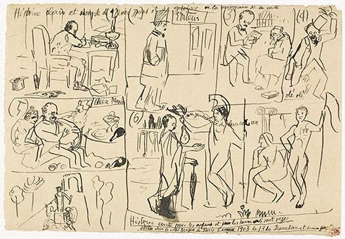 Pablo Picasso, Histoire claire et simple de Max Jacob, 13 janvier 1903. Dessin à la plume, encre brune, vélin (papier), Paris (origine). Musée national Picasso-Paris. Photo ©RMN-Grand Palais (Musée national Picasso-Paris) / Mathieu Rabeau. © Succession Picasso 2020.