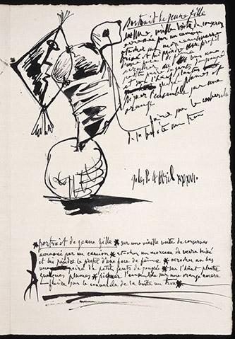 Pablo Picasso, Portrait de jeune fille sur une vieille boîte de conserve et poème en français sur ce thème, 4 avril 1936. Dessin à la plume, encre de Chine, vergé, Juan-les-pins (origine). Musée national Picasso-Paris. Photo © RMN-Grand Palais (Musée national Picasso-Paris) / Béatrice Hatala. © Succession Picasso 2020.
