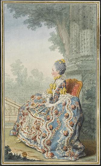 Louis Carrogis, dit Carmontelle (Paris, 1717-Paris, 1806), Louise-Marie-Thérèse Bathilde d'Orléans, duchesse de Bourbon (Saint-Cloud, 1750-Paris, 1822). Mine de plomb, sanguine, aquarelle et gouache ; H. 30,5 cm ; L. 17,9 cm. Inscription : Mademoiselle, fille unique du duc d'Orléans, mariée au duc de Bourbon. (b.d. encre) Soeur du futur Philippe Egalité, la ravissante Bathilde épouse en 1769 le duc de Bourbon (1756-1830), fils aîné du prince de Condé. Mariage d'amour à l'origine, car le jeune prince, alors âgé de treize ans, éprouve une violente passion pour la jeune fille qu'il ne tarde pas à enlever de son couvent pour consommer le mariage (à cette occasion, l'architecte Jean-François Leroy construisit en quelques mois le Bâtiment Neuf, aujourd'hui appelé château d'Enghien du nom de leur fils unique (1772-1804). Mais l'union ne fut pas heureuse et les jeunes époux ne tardèrent pas à se séparer.