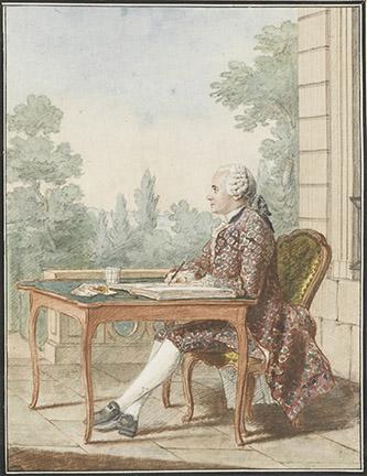 Autoportrait de Louis Carrogis, dit Carmontelle (Paris, 1717 ; Paris 1806). Mine de plomb, sanguine, aquarelle et gouache ; H. 24,8 cm ; L. 19 cm. Inscriptions (b., encre) : Mr. de Carmontelle, Lecteur du duc d'orléans Peut-être exécuté à Saint-Cloud, cet autoportrait montre Carmontelle assis devant une table à, jeux, dessinant sur un registre relié au moyen d'un porte-crayon à deux têtes, sanguine d'un côté pour les visages et les mains, pierre noire pour les costumes et les décors qui sont ensuite coloriés à la gouache et à l'aquarelle, comme le montre la palette et le verre d'eau. Le baron de Frénilly le décrit comme « un homme sec, à la figure longue et sévère, au rire sardonique, impérieux, colère, et cachant sous cette âpreté de formes un coeur très bon et une âme singulièrement élevée. »