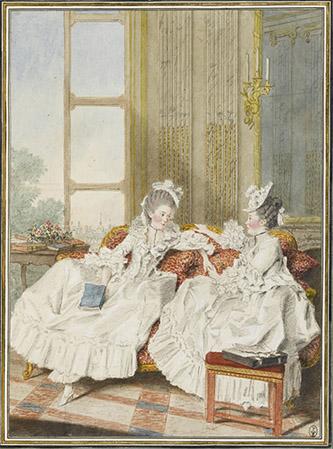 Louis Carrogis, dit Carmontelle (Paris, 1717-Paris, 1806), La comtesse de Blot, soeur du comte d'Ennery, et la marquise de Barbantane. Mine de plomb, aquarelle, gouache, sanguine ; H. 32 cm ; L. 23,6 cm. Inscription au verso : Mme La Comtesse de Blotz, Soeur du Comte d'ennery. Mme La Comtesse de Barbantane. (b., encre) Pauline Charpentier d'Ennery, comtesse de Blot, née en 1734, est ici avec son amie Charlotte de Mesnildot de Vierville qui épousa en 1753 le marquis de Barbentane, chambellan du duc d'Orléans. Selon la baronne d'Oberkirch, « Mme de Blot avait la prétention de ne vivre que d'ambroisie. Comme on l'avait surprise dévorant des côtelettes dans son arrière-cabinet, elle ne s'en consolait pas. »