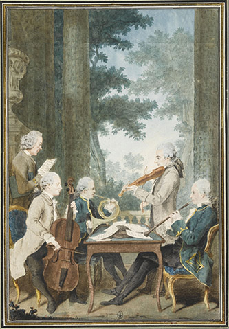 Louis Carrogis, dit Carmontelle (Paris, 1717-Paris, 1806), La musique du prince de Conti jouant un quatuor. Mine de plomb, sanguine, aquarelle et gouache ; H. 34,6 cm ; L. 23,3 cm. Inscriptions au verso : Mrs. duport, Vachon, Rodolphe, provers, Vernier (b., encre) Les musiciens du prince de Conti, « célèbres en leur temps » selon Lédans, jouent un quatuor dans un parc. Debout en gris, le violoniste Pierre Vachon (Arles, 1731-Berlin, 1802) vint à Paris en 1751 et entra en 1761 au service du prince de Conti en qualité de premier violon, composant de la musique de chambre et écrivant pour le théâtre. Le violoncelliste assis, Jean-Pierre Duport l'Aîné (Paris, 1741-Berlin, 1818), faisait, comme Vachon et Rodolphe, partie de la musique du prince de Conti ; il passa en 1773 au service du roi de Prusse Frédéric II et mourut à Berlin en 1818. Le sonneur de cor Rodolphe (Strasbourg, 1730-Paris, 1812) jouait depuis l'âge de sept ans ; après avoir joué au service du duc de Wurtemberg en 1764, il se mit en 1765 au service du prince de Conti : « M. Rodolphe, de la musique du prince de Conti, exécuta avec une rare perfection un concerto de cor de sa composition » (Mercure). Vernier joue la partie de hautbois et Provers, debout derrière Duport, surveille, la partition à la main, l'exécution de l'ensemble. Le dessin date environ de 1765-1770.
