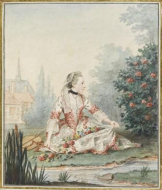 Louis Carrogis, dit Carmontelle (Paris, 1717-Paris, 1806), La petite bergère. Mine de plomb, sanguine, aquarelle, gouache ; H. 21,3 cm ; L. 18, 2 cm. Inscription au recto : Mlle d'épinay. (en haut) ; La Petite Bergère (b., encre) ; au verso : Mlle d'Epinay / depuis Mme de Belzunce. Née vers 1748, et âgée ici d'une douzaine d'années, Mlle d'Epinay, costumée en bergère, est assise et au bord d'un ruisseau, elle a cueilli des fleurs qu'elle a mis dans son tablier. On est ici dans le mythe du retour à la nature et à ses joies simples.