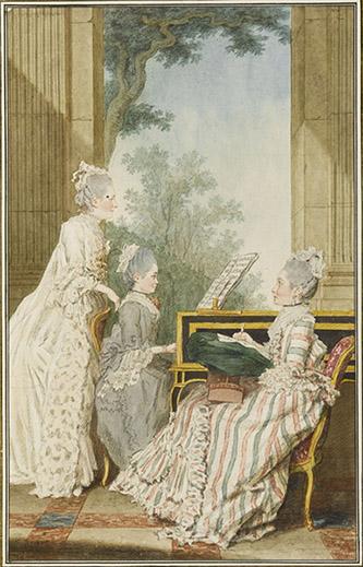 Louis Carrogis, dit Carmontelle (Paris, 1717-Paris, 1806), Mme la marquise de Rumain et ses filles, la comtesse de Polignac et Mlle de Rumain. Mine de plomb, sanguine, aquarelle, gouache ; H. 32,9 cm ; L. 20,8 cm. Inscription : Mme La Marquise de Rumain, La comtesse de polignac sa fille aînée, et Mlle de Rumain sa Seconde fille (b., encre) ; 1768. (b.d.) Dans cette scène familiale, la comtesse surveille l'exécution au clavecin d'un morceau musical par sa fille cadette, tandis que l'aînée, la comtesse de Polignac, travaille à sa tapisserie fixée à un tambour. La jeune femme, née Constance-Gabrielle-Bonne de Rumain, dame d'honneur de la duchesse de Chartres, avait épousé le 23 avril 1767 le comte Alexandre de Polignac, capitaine de cavalerie, qui mourut le 14 juillet 1768. Le dessin est sans doute légèrement antérieur. Sa soeur cadette fut promise à Castera, mais les fiançailles furent rompues, et elle épousa en 1771 le marquis d'Usson-Bonac, colonel aux Grenadiers de France.