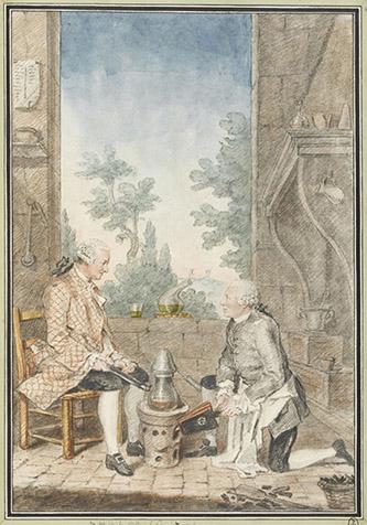 Louis Carrogis, dit Carmontelle (Paris, 1717-Paris, 1806), Didier-François d'Arclais de Montamy (Montamy, près de Vire, 1702 ; Paris, 1765) et M.d'Alainville, chimistes, dans leur laboratoire. Mine de plomb, sanguine, aquarelle, gouache ; H. 30,8 cm ; L. 21 cm. Inscriptions : M.M. d'Alinville et de Montamy. (b., encre) Premier maître d'hôtel du duc d'Orléans, Montamy cultiva les arts et les sciences, traduisit de l'allemand la Lithogéognosie ou Examen des pierres précieuses, de J.-M. Pott (2 vol.,1753), et donna un Traité des différentes manières de peindre (1757, in-8