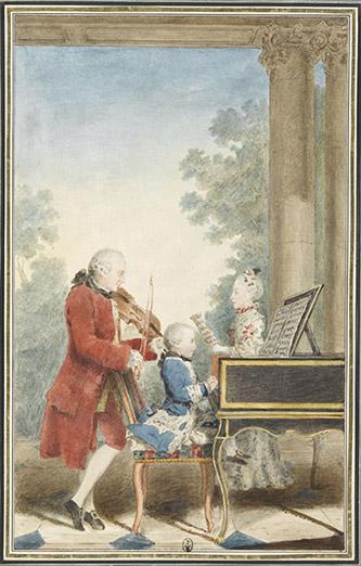 Louis Carrogis, dit Carmontelle (Paris, 1717-Paris, 1806), Wolfgang-Amadeus Mozart (Salzbourg, 1756-Vienne, 1791) enfant jouant avec son père Léopold Mozart (Augsbourg, 1719-Salzbourg, 1787) et sa soeur Maria Anna (dite Nannerl) (Salzbourg, 1751-1829). Mine de plomb, sanguine, aquarelle et gouache ; H. 32,8 cm ; L. 20,3 cm Inscriptions sur le montage au recto : 1762 (b.d., sic) ; au verso : Mozart enfant, / son père / sa soeur (écriture moderne) Violoniste du prince-évêque de Salzbourg dès 1743, le père du grand Mozart eut sept enfants dont deux survécurent : Wolfgang-Amadeus, né le 27 janvier 1756, et une fille, Maria Anna (dite Nannerl), née le 29 août 1751. Le jeune Mozart apprit la musique à l'âge de trois ans en écoutant son père l'enseigner à sa grande soeur et composait à quatre ans de petites pièces au clavecin. Lors d'une tournée européenne entre 1762 et 1766, il enthousiasma l'Empereur. La famille Mozart séjourna à Paris de novembre 1763 à avril 1764 ; la date de 1762 notée sur le montage du dessin est donc erronée. Protégés par le baron Grimm, le comte de Tessé et le duc de Chartres, les Mozart jouèrent au Palais-Royal, chez la comtesse de Tessé et à Versailles où l'enfant fut présenté au roi et embrassé par la dauphine. Comme l'écrit Léopold Mozart le 1er avril 1764, « mes petits enfants stupéfient tout le monde, spécialement le petit garçon (…) toutes les dames sont tombées amoureuses de mon fils (…) Si les baisers qu'elles ont donné à mes enfants et surtout au maestro Wolfgang avaient été autant de louis d'or, nous serions tous heureux. (…) M. de Mechel, graveur sur cuivre, travaille en hâte à graver le portrait que M. de Carmontelle, un amateur a très bien peint. Wolfgang joue du clavecin, je suis debout derrière sa chaise, et la Nannerl s'appuie. » Ce dessin a été gravé par Delafosse en 1764.