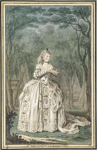 Louis Carrogis, dit Carmontelle (Paris, 1717-Paris, 1806), La cantatrice Sophie Arnould (1740-1802), dans l'opéra Pyrame et Thisbé. Mine de plomb, sanguine, aquarelle et gouache ; H. 32 cm ; L. 19,8 cm Inscriptions : Mlle Sophie arnould, dans L'opéra de pyrame Et Thisbé / 1760 (b., encre) Hist. : coll. Lédans (1807) ; Pierre de La Mésangère (1816) ; Henri d'Orléans, duc d'Aumale (L. 2778) Bibl. : Gruyer, 1902, n° 420. CAR-420 (T. VI n° 33) Connue pour la qualité de son jeu et de sa voix, l'actrice et cantatrice débuta à dix-sept ans. Célèbre pour ses bons mots, elle n'était pas très jolie selon Mme Vigée-Lebrun. De sa liaison avec le duc de Lauragais, elle eut quatre enfants. Inspirée des Métamorphoses d'Ovide, la tragédie lyrique de Francoeur et Rebel Pyrame et Thisbé, créée en 1726, décrit les amours contrariées de deux adolescents qui s'aiment depuis l'enfance, mais que leurs familles souhaitaient marier à leur gré. L'opéra fut repris en janvier 1759 avec Sophie Arnould dans le rôle de Thisbé et Mlle Chevalier dans le rôle de Zoraïde, fille du roi Zoroastre. Croyant Thisbé morte, Pyrame se suicide, puis Thisbé désespérée fait de même. En 1771, la fin fut modifiée, les deux adolescents ressuscitant. Le décor de l'acte V, situé en forêt, laisse deviner à travers les arbres les tombeaux des rois assyriens, évoquant le bois des tombeaux du Parc Monceau. Une gravure coloriée fut tirée du dessin de Carmontelle.